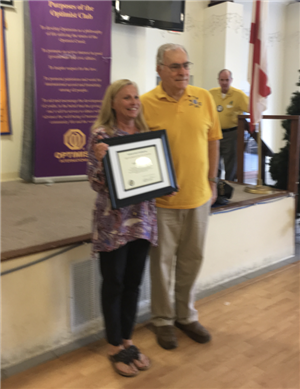 Ms. Jo Ann Pinkston was recognized by the Optimist Club of Perdido Beach