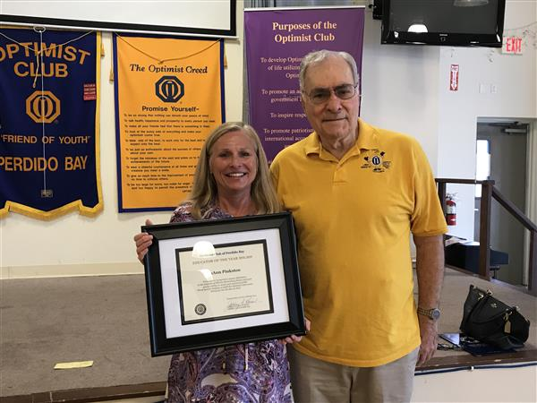 Ms. Pinkston was awarded a plaque and cash by the Optimist Club of Perdido Bay