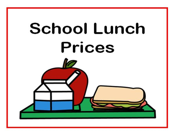 2018-2019 Cafeteria Meal Prices