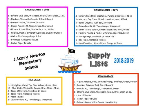 K-2 Supply Lists