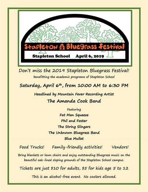 Stapleton Bluegrass Festival the 1st weekend in April
