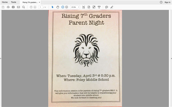 Parent Night at Foley Middle for Rising 7th Graders 2018-2019