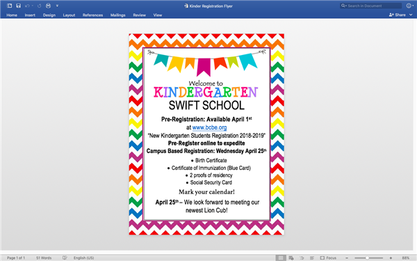 2018-2019 Kindergarten Registration Info