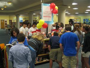 Students view the Banned Books Week Display