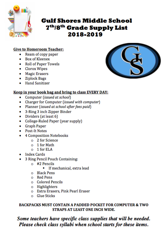 About Our School School Supply List