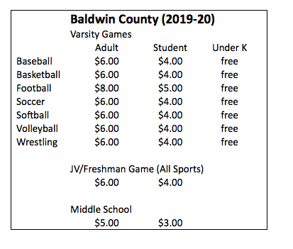 2019-20 ATHLETIC TICKET PRICES