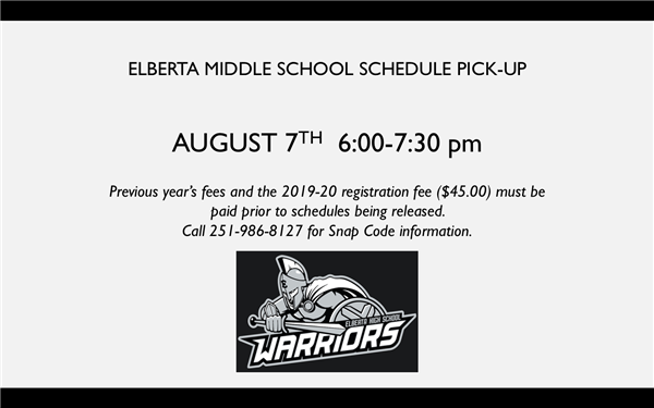 ELBERTA MIDDLE SCHOOL SCHEDULE PICK-UP INFORMATION