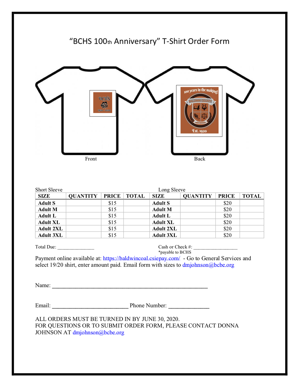 BCHS 100th Anniversary T-Shirts on sale!