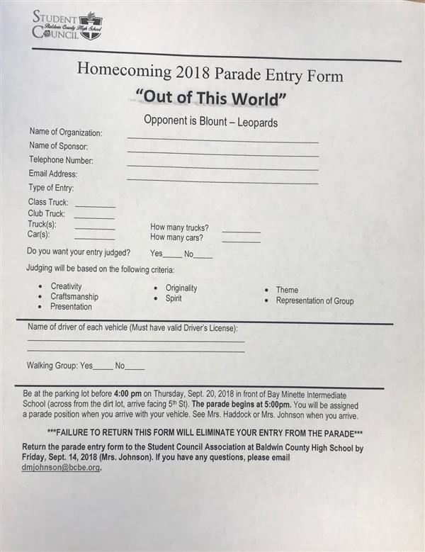 Homecoming Parade Form