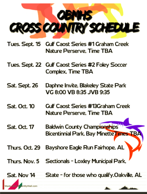 OBMHS Cross Country Schedule