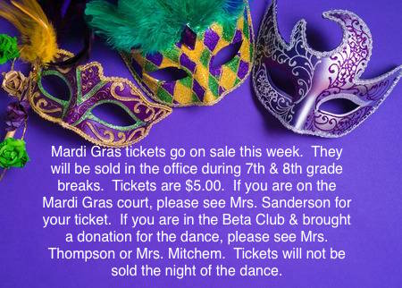 Mardi Gras Ball Ticket Info.