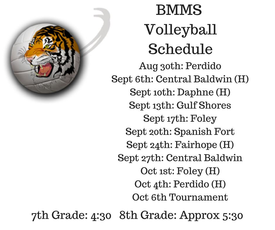 2018-2019 BMMS Volleyball Schedule