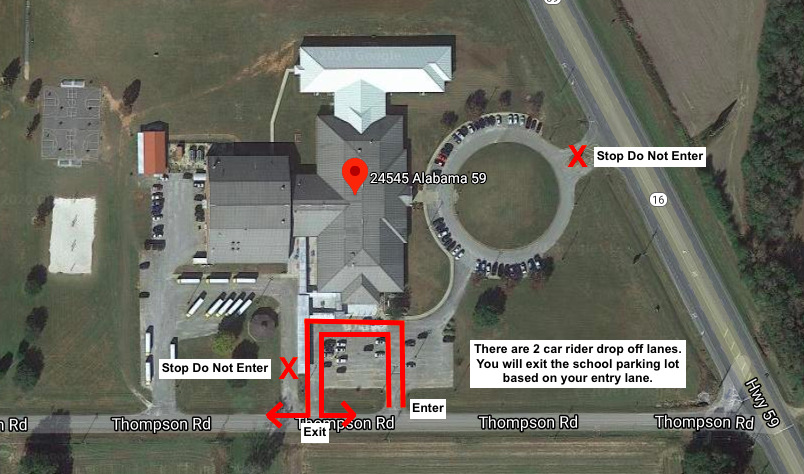 Student drop off map