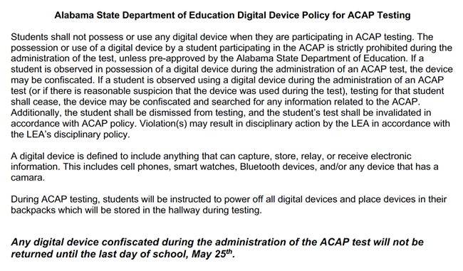 Digital Device Policy