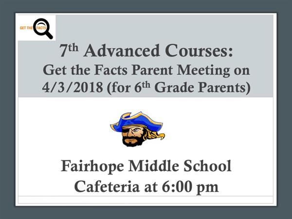 Get The Facts Parent Meeting About 7th Grade Advanced Classes