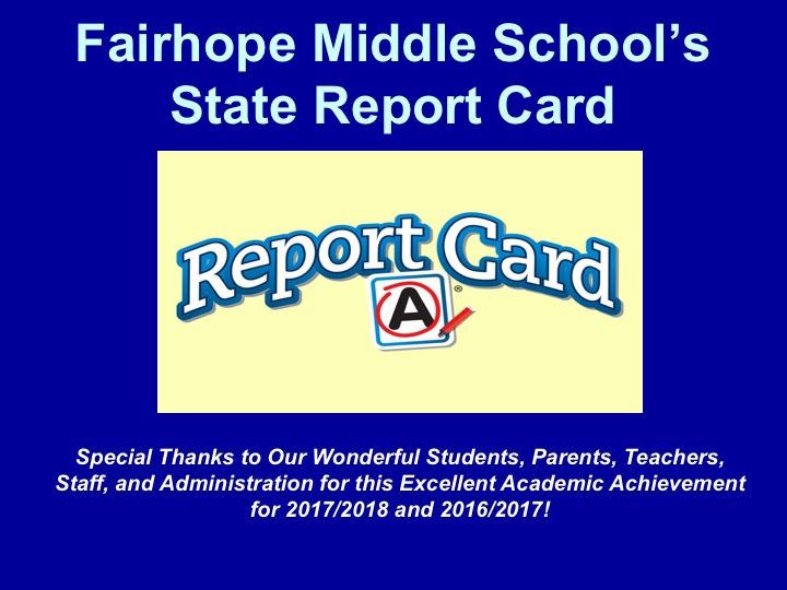 """A"" Report Card for 2017-2018"
