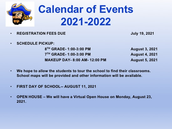 Calendar of Events- 2021-2022