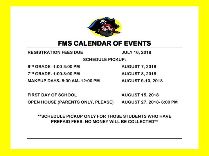 Calendar of Activities for 2018/2019 School Year