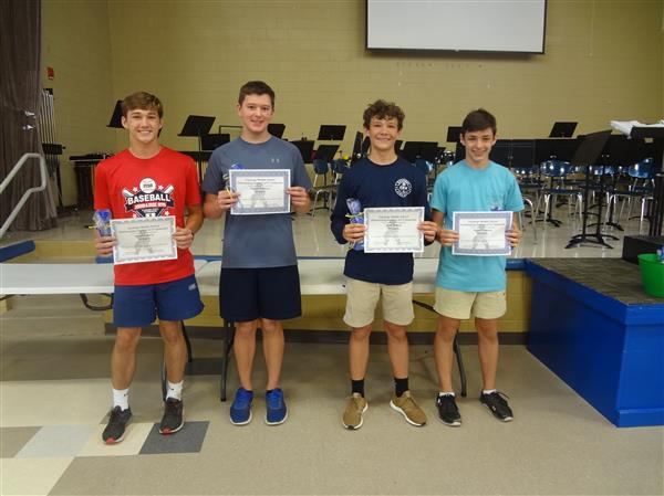 8th Grade Boys- Outstanding Students