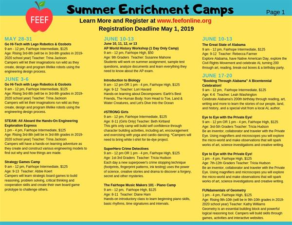 FEEF Summer Enrichment Camps