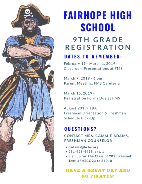 FHS 9th Grade Registration- Dates to Remember