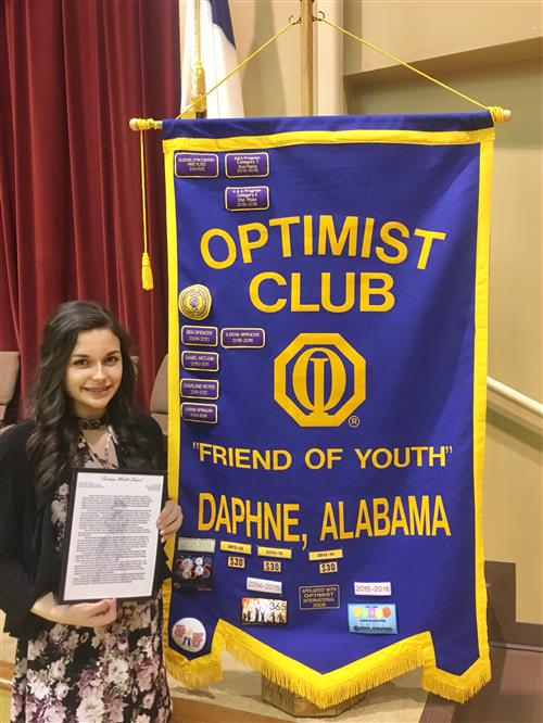 Victoria Whatley, 8th Grade, Is Recognized At Daphne Optimist Club's Youth Appreciation Celebration