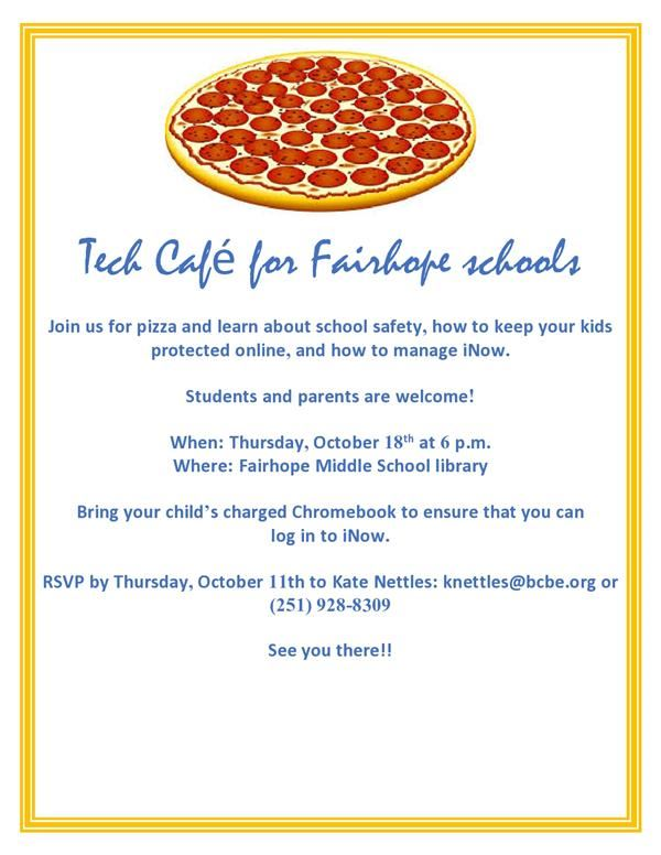Tech Cafe for Parents on October 18th in FMS Library at 6:00 pm- RSVP Required
