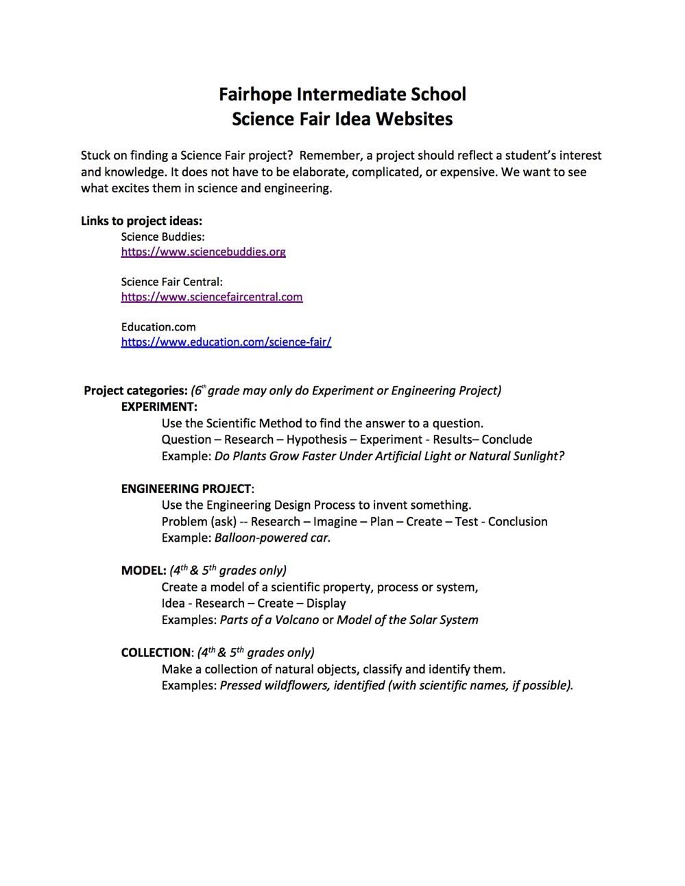 2020 Science Fair Links