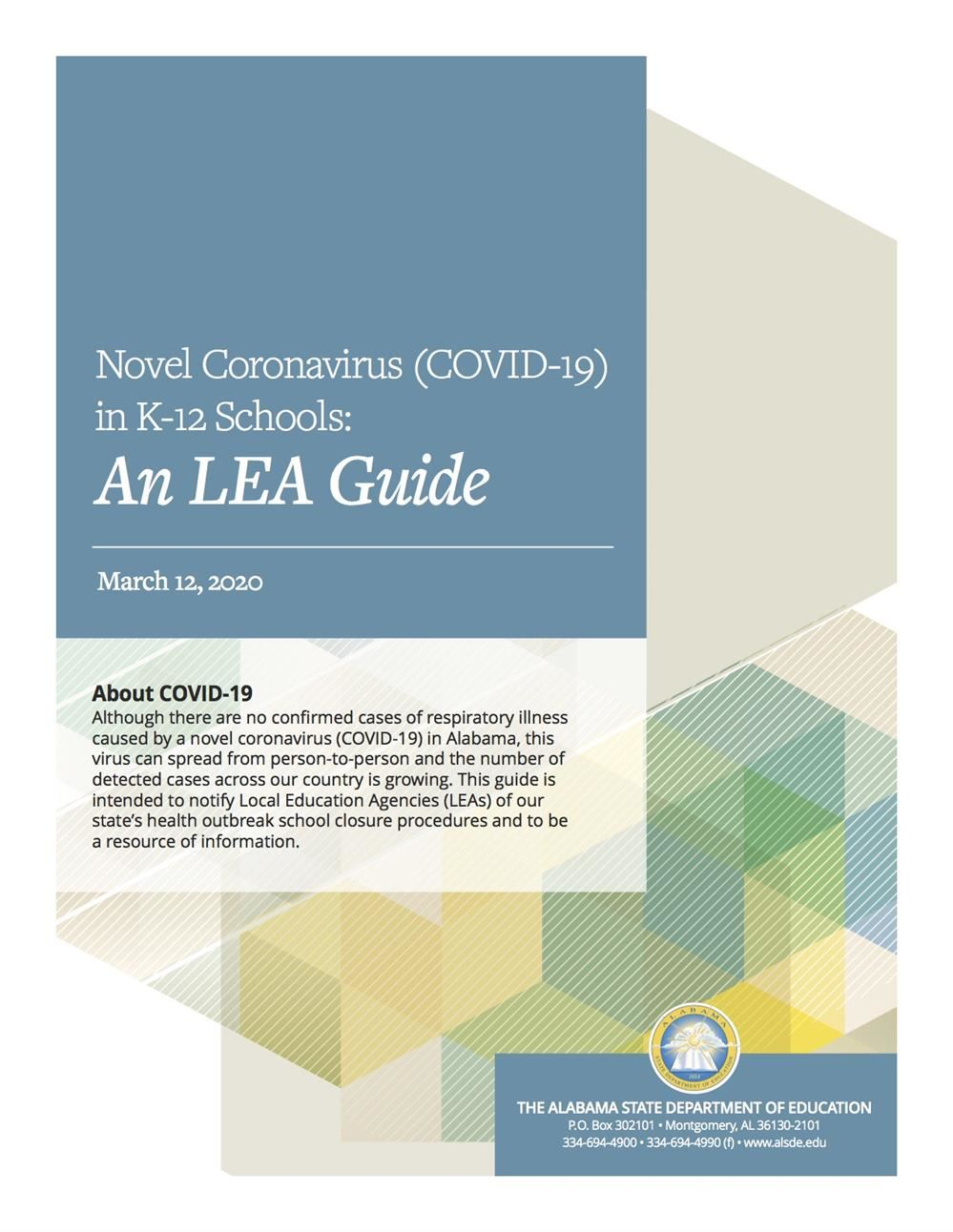 COVID-19 UPDATE:  Local Education Agencies (LEA Guide)