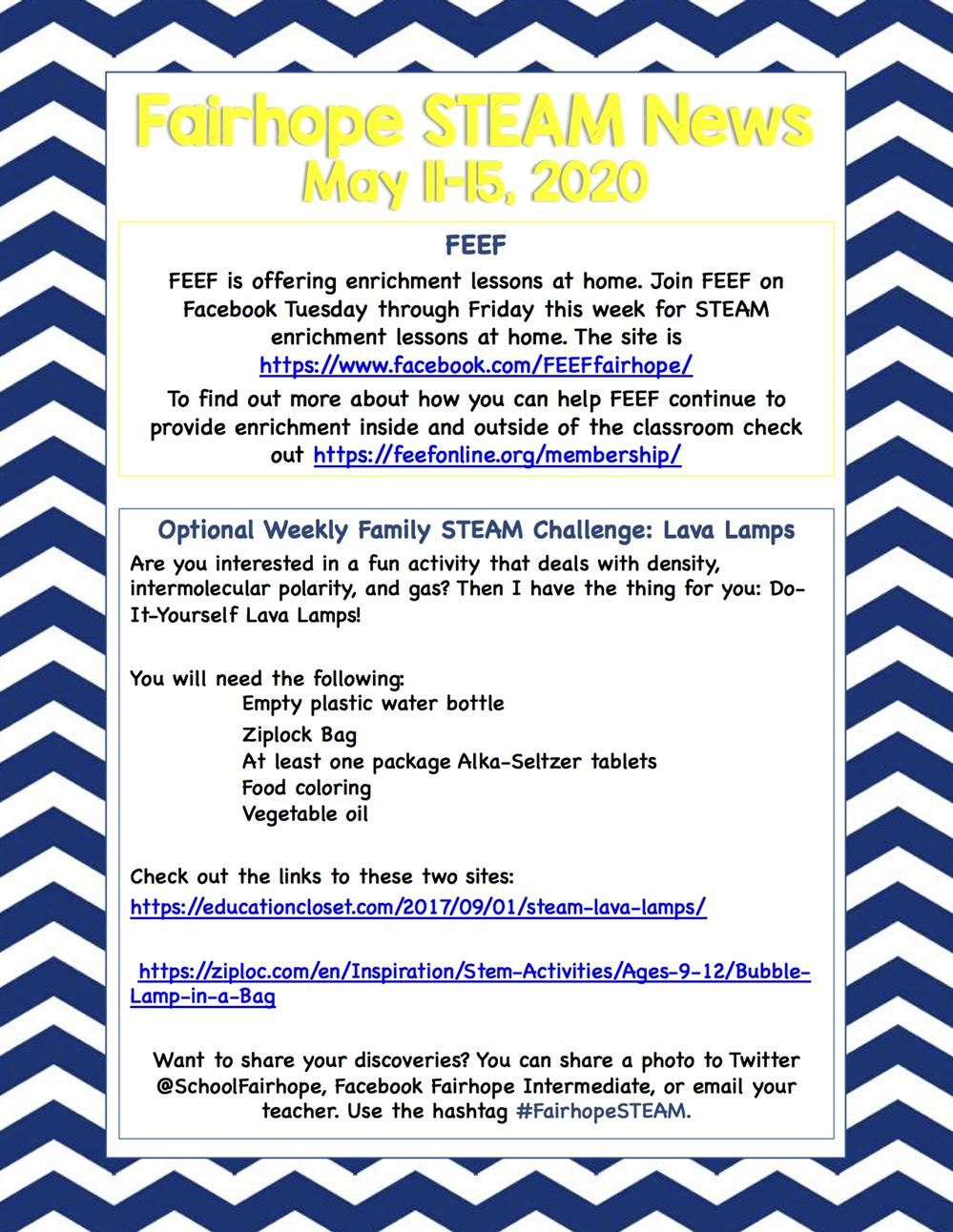 Fairhope STEAM News (May 11th - 15th)
