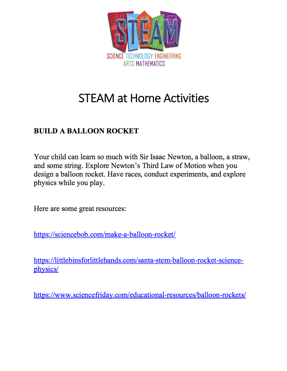 STEAM at  Home Activities