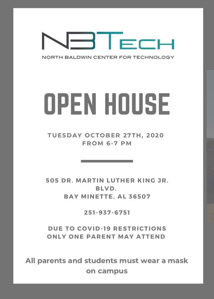NBTech Open House will be October 27th from 6:00-7:00 pm